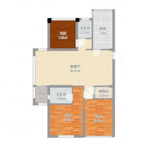 浙建・太和丽都三期3室2厅2卫1厨79.57㎡户型图