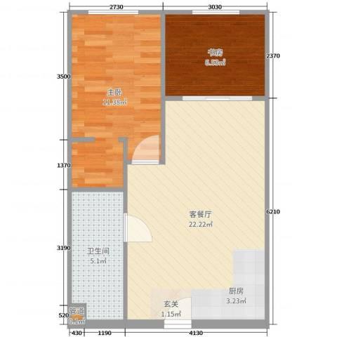 大爱国际2室2厅1卫0厨57.00㎡户型图