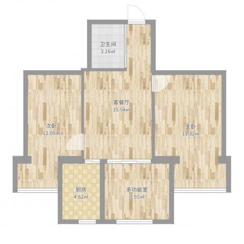 百草园2室2厅1卫1厨73.00㎡户型图