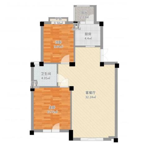 康桥小镇2室2厅1卫1厨82.00㎡户型图