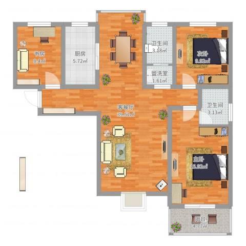 熙城都会3室4厅2卫1厨115.00㎡户型图