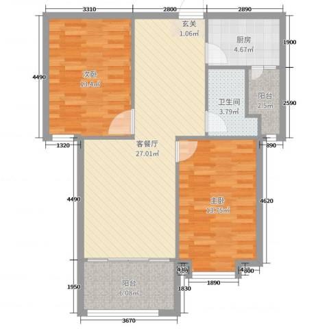 泉府公馆2室2厅1卫1厨71.21㎡户型图