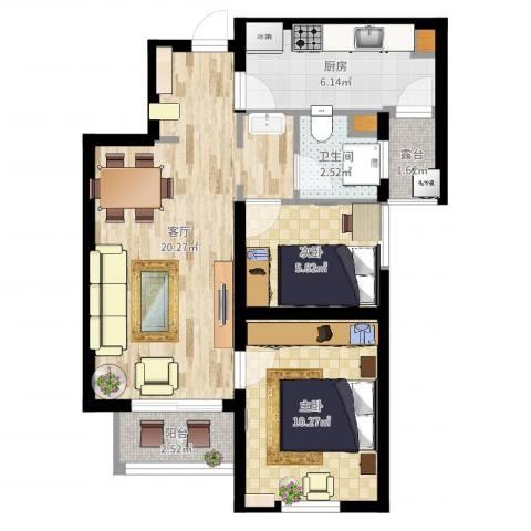 万科・金域东郡2室1厅1卫1厨62.00㎡户型图