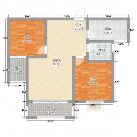 阜丰康桥郡2室2厅1卫1厨92.00㎡户型图