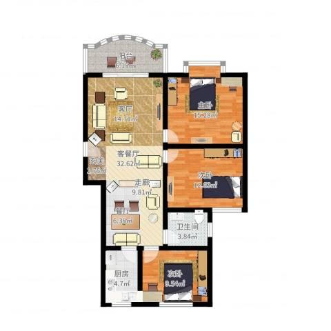 金碧园3室2厅1卫1厨106.00㎡户型图