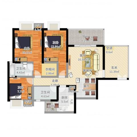 领峰3室2厅2卫1厨150.00㎡户型图