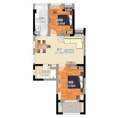 典雅花园2室1厅1卫2厨97.00㎡户型图