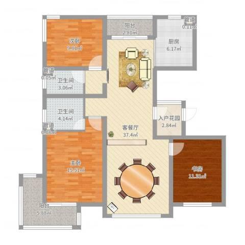 广泰瑞景城3室2厅2卫1厨124.00㎡户型图