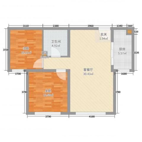 大爱国际2室2厅1卫1厨80.00㎡户型图