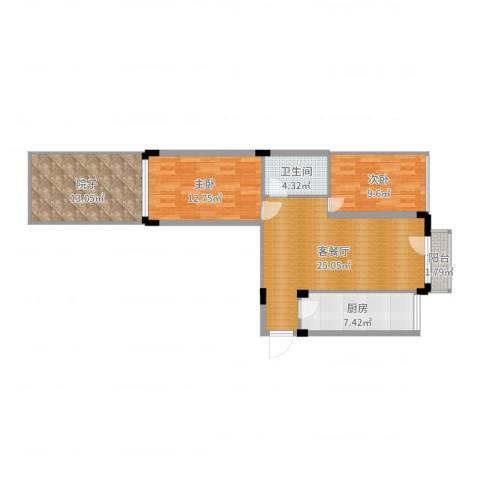 中海英伦观邸2室2厅1卫1厨92.00㎡户型图