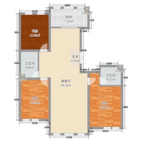 大爱国际3室2厅2卫1厨149.00㎡户型图