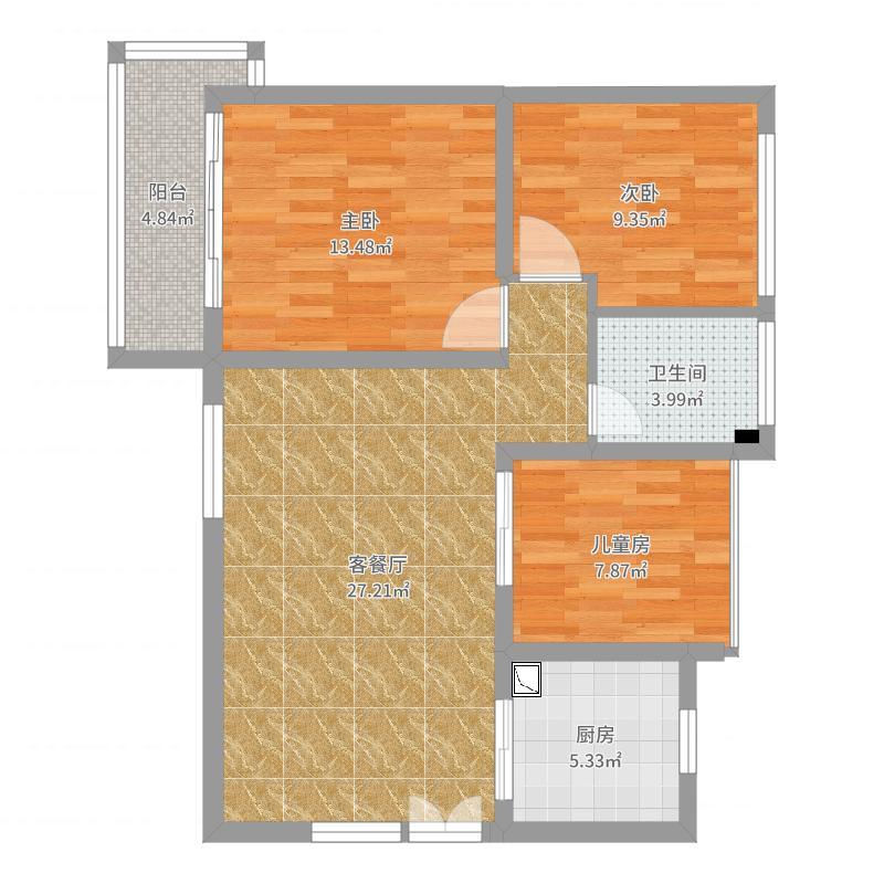 振业天峦H户型90平两室两厅
