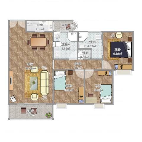 市桥南绿庭雅苑3室1厅3卫1厨102.00㎡户型图