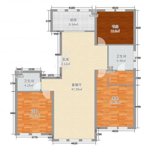 大爱国际3室2厅2卫1厨166.00㎡户型图