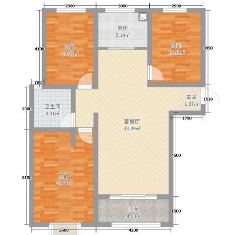 阜丰康桥郡3室2厅1卫1厨115.00㎡户型图