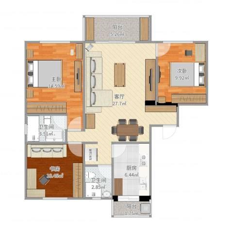 恒大华城长清苑3室1厅2卫1厨103.00㎡户型图