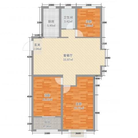 阜丰康桥郡3室2厅1卫1厨114.00㎡户型图