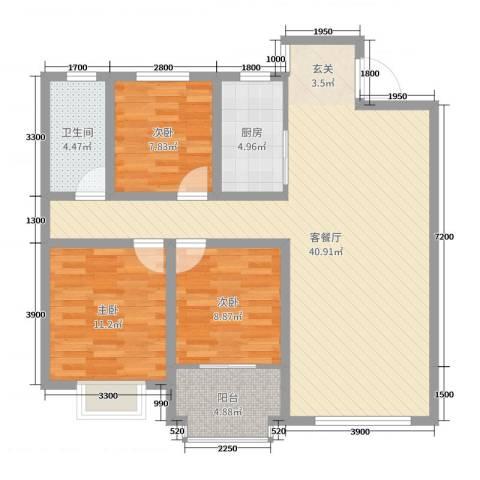 阜丰康桥郡3室2厅1卫1厨111.00㎡户型图