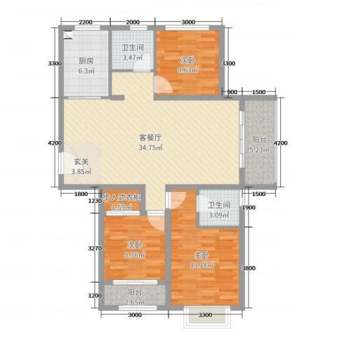 阜丰康桥郡3室2厅2卫1厨116.00㎡户型图