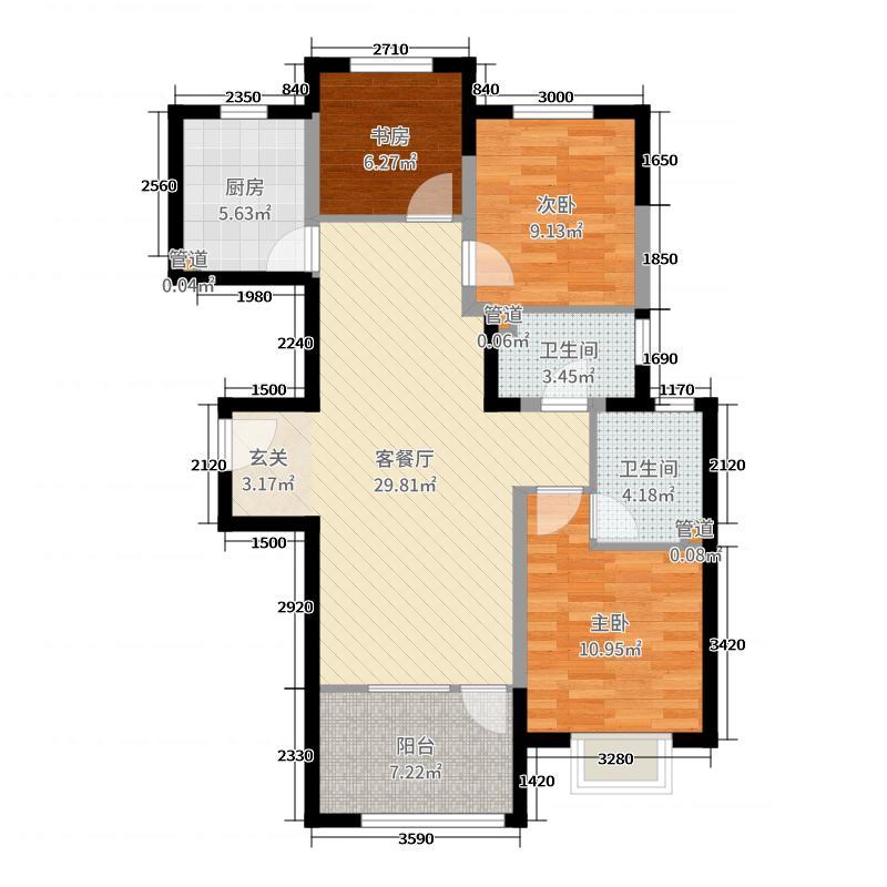 中铁秦皇半岛103.60㎡24、25、26栋户型3室3厅2卫1厨