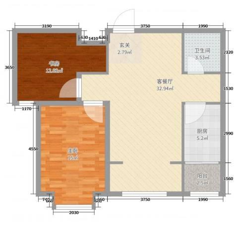 泉府公馆2室2厅1卫1厨71.20㎡户型图