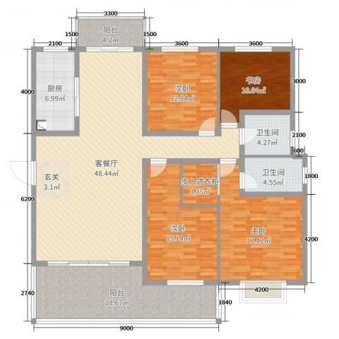 阜丰康桥郡4室2厅2卫1厨180.00㎡户型图