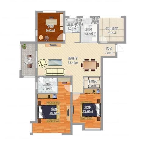 海亮九玺【锦上】3室2厅2卫1厨129.00㎡户型图