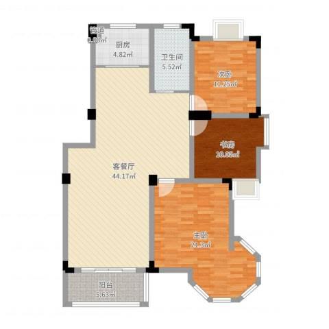 名邦西城秀里3室2厅1卫1厨129.00㎡户型图