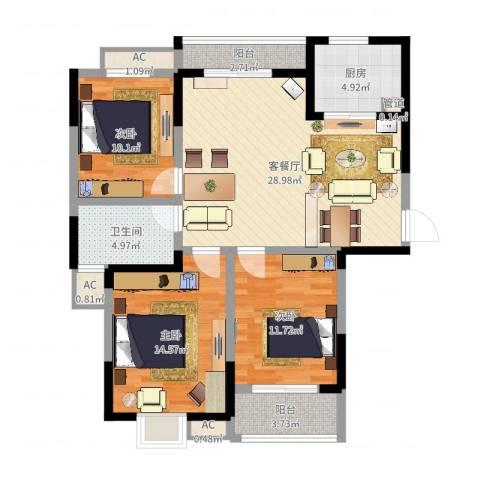 万福・君临天下3室2厅1卫1厨105.00㎡户型图