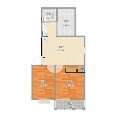 栖霞摄山星城西经济适用房2室1厅1卫1厨55.00㎡户型图
