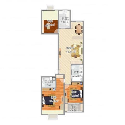 国际大都会3室2厅2卫1厨141.00㎡户型图