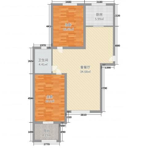 雍雅锦江2室2厅1卫1厨94.00㎡户型图
