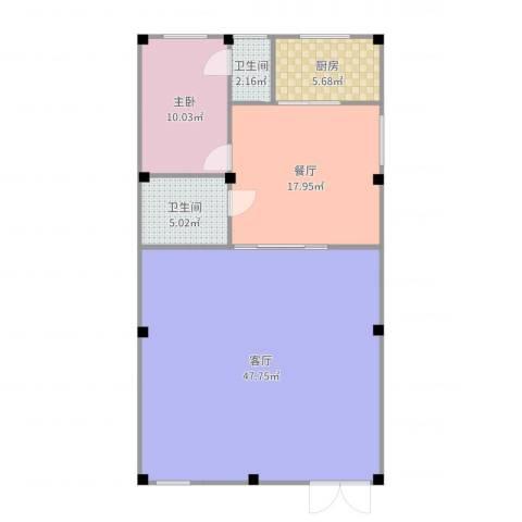自建房1室2厅2卫1厨111.00㎡户型图