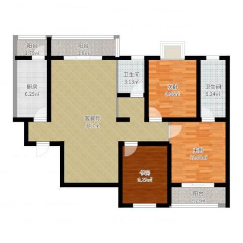 旭景崇盛园3室2厅2卫1厨112.00㎡户型图