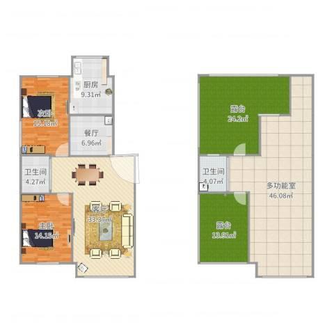 紫龙新城2室2厅2卫1厨214.00㎡户型图