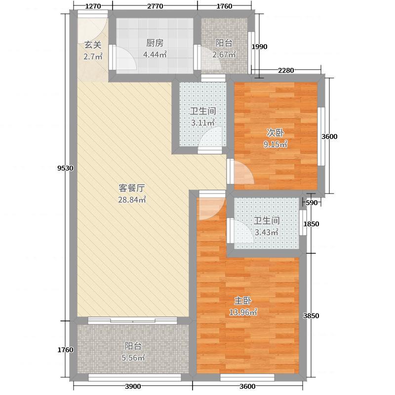 天元东方锦泰85.12㎡一期C5/6/7#标准层C户型2室2厅2卫