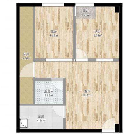 司南3空间2室1厅1卫1厨63.00㎡户型图