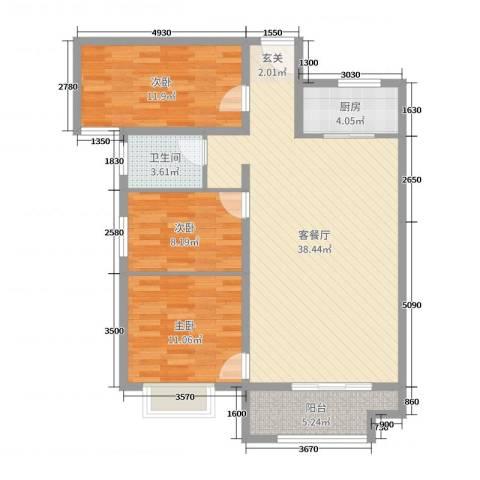 泉府公馆3室2厅1卫1厨82.48㎡户型图