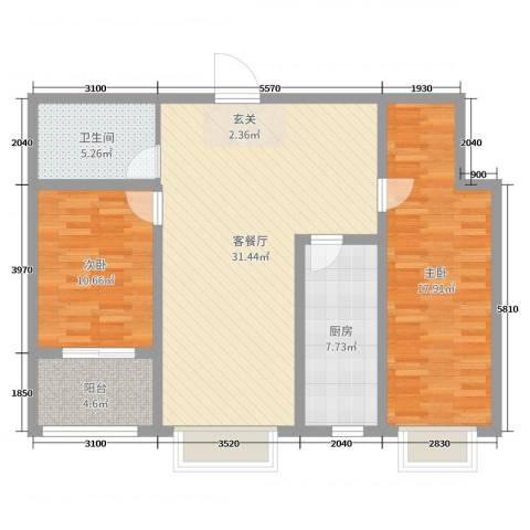 泉府公馆2室2厅1卫1厨77.60㎡户型图