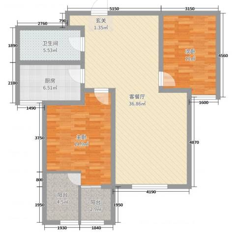 泉府公馆2室2厅1卫1厨83.20㎡户型图