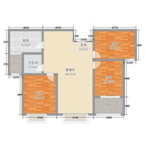 泉府公馆3室2厅1卫1厨102.24㎡户型图