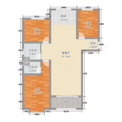 泉府公馆3室2厅2卫0厨97.36㎡户型图