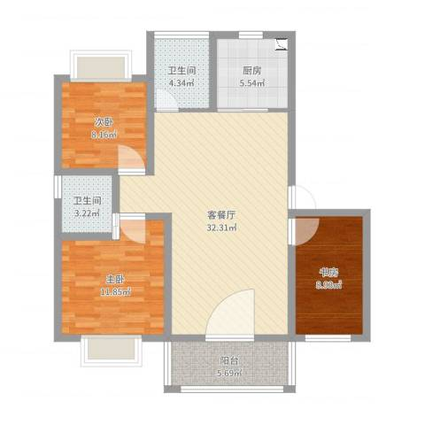 御都花园3室2厅2卫1厨100.00㎡户型图