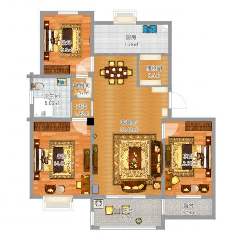 时代国际3室2厅1卫1厨117.00㎡户型图