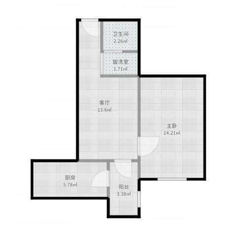 青塔春园1室3厅1卫1厨51.00㎡户型图