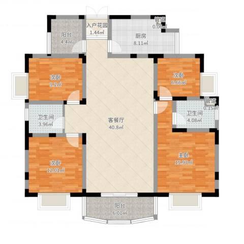 丰景佳园4室2厅2卫1厨141.00㎡户型图