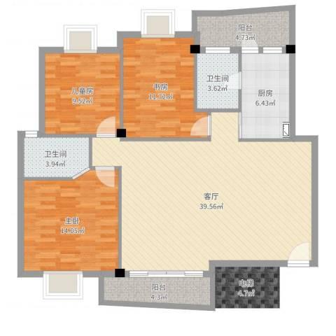 东方花园3室1厅2卫1厨122.00㎡户型图