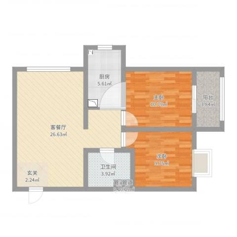 武阳秀美2室2厅2卫2厨76.00㎡户型图