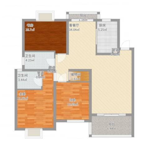 香江生态丽景3室2厅2卫1厨130.00㎡户型图