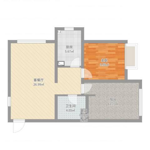 武阳秀美1室2厅1卫1厨74.00㎡户型图